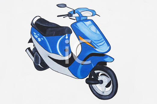 A blue scooter