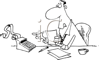Royalty Free Clipart Image of a Man With an Adding Machine