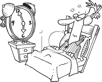 Royalty Free Clipart Image of a Man Ignoring the Alarm Clock