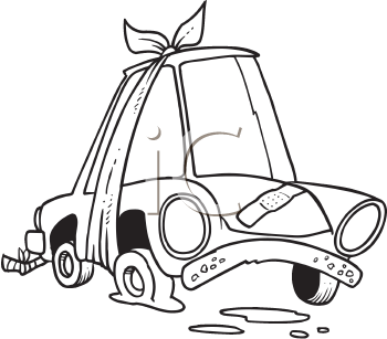 Royalty Free Clipart Image of a Car With Bandages