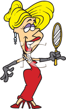 Royalty Free Clipart Image of a Woman Looking in a Mirror