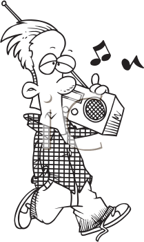 Royalty Free Clipart Image of a Boy Listening to Music