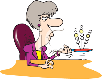 Royalty Free Clipart Image of a Woman Bouncing Balls of a Paddle