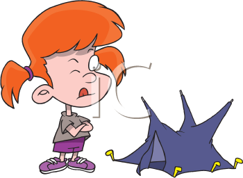 Royalty Free Clipart Image of a Girl With a Tent