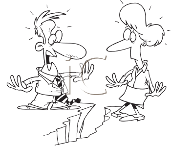 Royalty Free Clipart Image of a Couple on Either Side of a Chasm