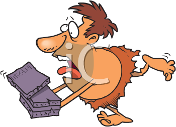 Royalty Free Clipart Image of a Caveman Courier