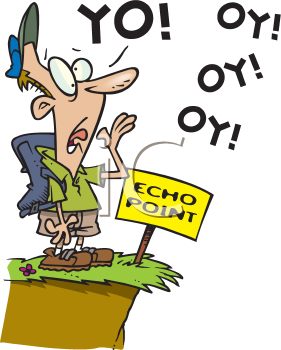 Royalty Free Clipart Image of a Man Hollering at Echo Point