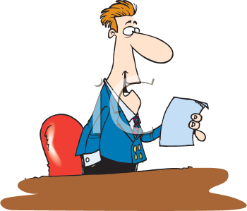 Royalty Free Clipart Image of a Man Reading From a Piece of Paper