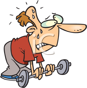 Royalty Free Clipart Image of a Feeble Man Trying to Lift a Barbell
