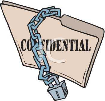 Royalty Free Clipart Image of a Folder With a Chain