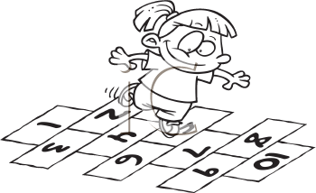 Royalty Free Clipart Image of a Girl Playing Hopscotch