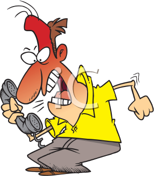 Royalty Free Clipart Image of an Angry Man on the Phone
