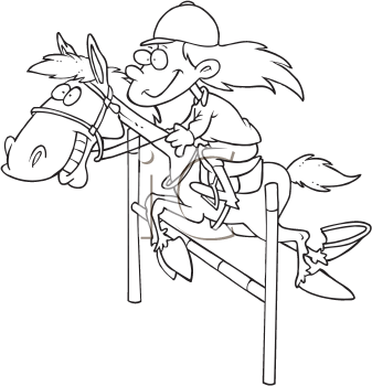 Royalty Free Clipart Image of a Girl Riding a Horse Over a Jump