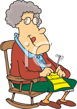 Royalty Free Clipart Image of a Woman Knitting