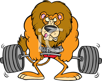 Royalty Free Clipart Image of a Lion Lifting Weights