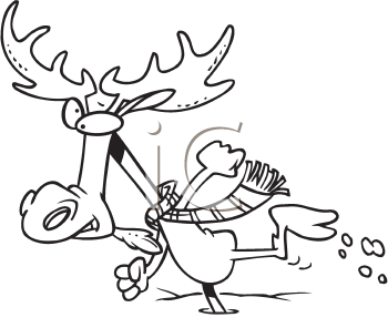 Royalty Free Clipart Image of a Moose Running in Snow