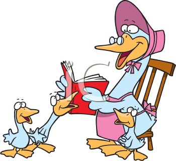 Royalty Free Clipart Image of a Mother Goose Reading a Story to her Babies