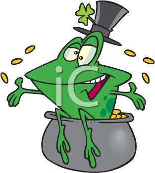 Royalty Free Clipart Image of a Frog in a Pot of Gold