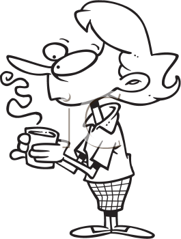 Royalty Free Clipart Image of a Woman Holding a Cup of Coffee