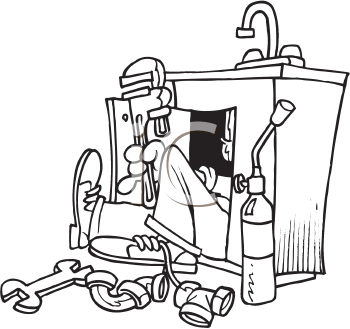 Royalty Free Clipart Image of a Plumber Working on a Sink