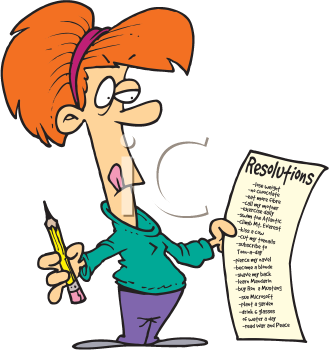 Royalty Free Clipart Image of a Woman Making Her New Year's Resolution List