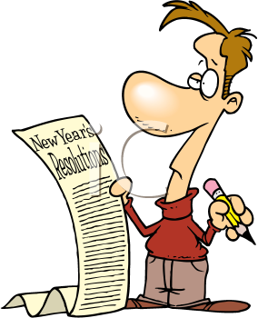 Royalty Free Clipart Image of a Man Making a List of New Year's Resolutions
