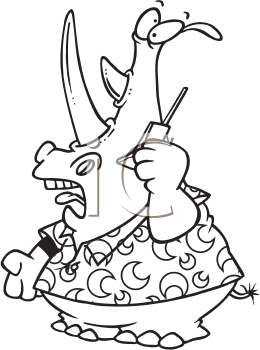 Royalty Free Clipart Image of a Rhinoceros Talking on the Phone