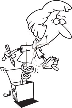 Royalty Free Clipart Image of a Secretary in a Box