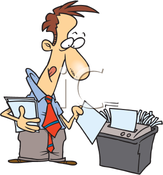 Royalty Free Clipart Image of a Man Using a Paper Shredder