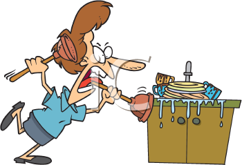 Royalty Free Clipart Image of a Woman Fixing a Plugged Sink