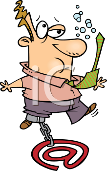 Royalty Free Clipart Image of a Man Sinking Chained To An At Symbol