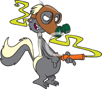 Royalty Free Clipart Image of a Skunk in a Gas Mask