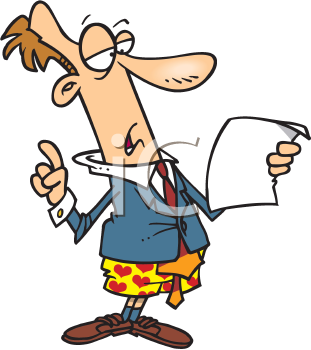 Royalty Free Clipart Image of a Man Giving a Speech in His Boxers