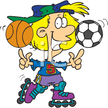 Royalty Free Clipart Image of a Sporty Girl