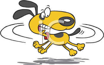 Royalty Free Clipart Image of a Dog Chasing Its Tail