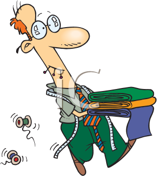 Royalty Free Clipart Image of a Man Carrying Fabric