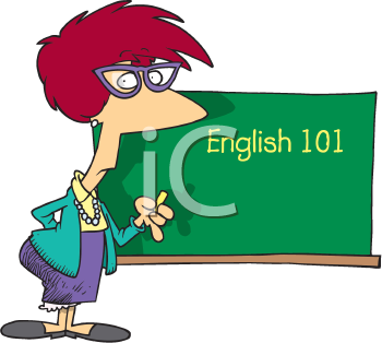 Royalty Free Clipart Image of an English Teacher