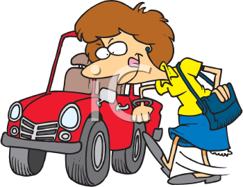 Royalty Free Clipart Image of a Woman Kicking Her Car Tire