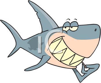 Royalty Free Clipart Image of a Shark Using a Toothpick