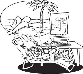 Royalty Free Clipart Image of a Man on a Virtual Vacation