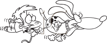 Royalty Free Clipart Image of a Dog Pulling a Boy