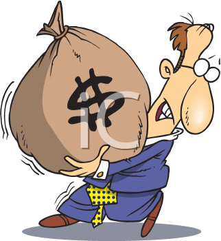 Royalty Free Clipart Image of a Man With a Big Bag of Money