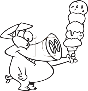 Royalty Free Clipart Image of a Pig With a Big Ice Cream Cone