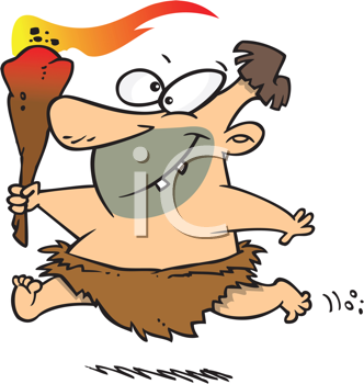 Royalty Free Clipart Image of a Caveman With a Torch