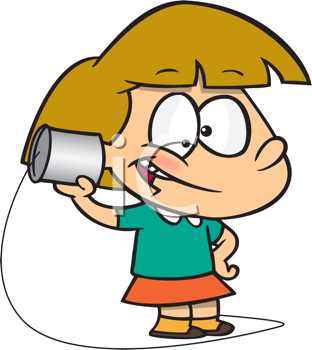 Royalty Free Clipart Image of a Girl Talking on a Tin Can