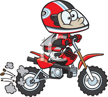 Royalty Free Clipart Image of a Kid on a Mini-Bike