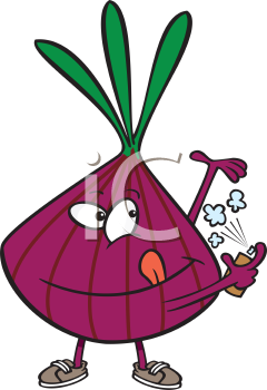 Royalty Free Clipart Image of an Onion Spraying Deodorant