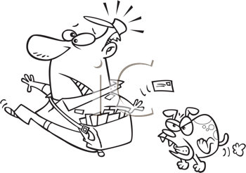 Royalty Free Clipart Image of a Dog Chasing a Postman