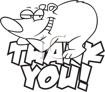 Royalty Free Clipart Image of a Bear Resting on a Thank You