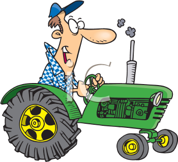 Royalty Free Clipart Image of a Man on a Tractor
